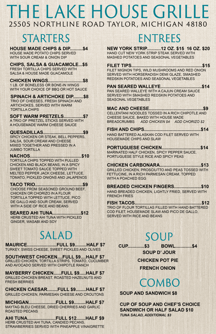 Lake House Grille Menu Spring 19